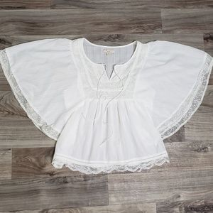 Forever 21 White Lace Trim Angel Sleeve Top A19